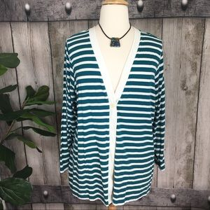 Coldwater Creek Teal/Ivory Striped Cardigan